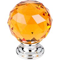 "Top Knobs - Crystal - 1 3/8"" (35mm) Diameter Knob in Amber Crystal with Polished Chrome"