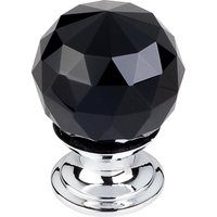 "Top Knobs - Crystal - 1 1/8"" (29mm) Diameter Knob in Black Crystal with Polished Chrome"