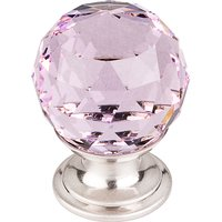 "Top Knobs - Crystal - 1 1/8"" (29mm) Diameter Knob in Pink Crystal with Brushed Satin Nickel"
