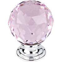 "Top Knobs - Crystal - 1 3/8"" (35mm) Diameter Knob in Pink Crystal with Polished Chrome"