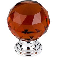 "Top Knobs - Crystal - 1 3/8"" (35mm) Diameter Knob in Wine Crystal with Polished Chrome"