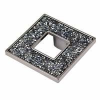 "Topex Cabinet Knobs - Crystal - 1 7/16"" Centers Square Pull with Hole in Black And Blue and Swarovski Crystals"