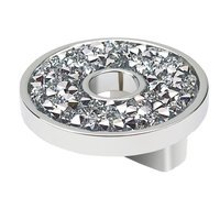 "Topex Cabinet Knobs - Crystal - 1 1/4"" Small Round Knob with Hole in Chrome and Swarovski Crystals"