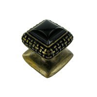 Vicenza Hardware - Gioiello - Square Gem Stone Knob Design 5 in Satin Nickel with Black Onyx Insert