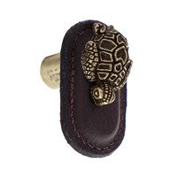 Vicenza Hardware - Pollino - Leather Collection Tartaruga Knob in BrownLeather in Satin Nickel