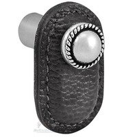 Vicenza Hardware - Equestre - Leather Collection Cappello Knob in Black Leather in Satin Nickel
