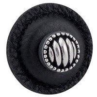 "Vicenza Hardware - Sanzio - 1 1/4"" Round Lines and Dots Knob with Leather Insert in Satin Nickel with Black Leather Insert"