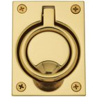 "Baldwin Hardware - 3 5/16"" Recessed Ring Pull in Lifetime PVD Polished Brass"