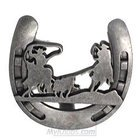 Wild Western Hardware - Antique Pewter - Calf Roping Horseshoe Knob in Antique Pewter