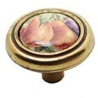 "Richelieu Hardware - Country Style Expression - Ceramic 1 1/4"" Diameter Inset Knob in Burnished Brass, Plum and Pear"