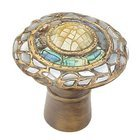 "Symphony Designs / Maitland Smith Hardware by Schaub and Company - Fair Isle - Solid Brass 1 1/8"" Diameter Round Knob in Aged Dover with Imperial Shell and Mother of Pearl"